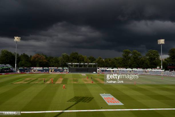 General view of play during The Hundred match between Welsh Fire Women and Southern Brave Women at Sophia Gardens on July 27, 2021 in Cardiff, Wales.
