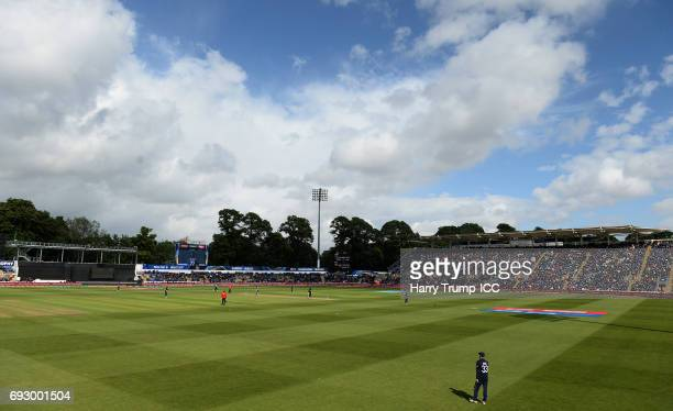 General view of play during the ICC Champions Trophy match between England and New Zealand at SWALEC Stadium on June 6 2017 in Cardiff Wales