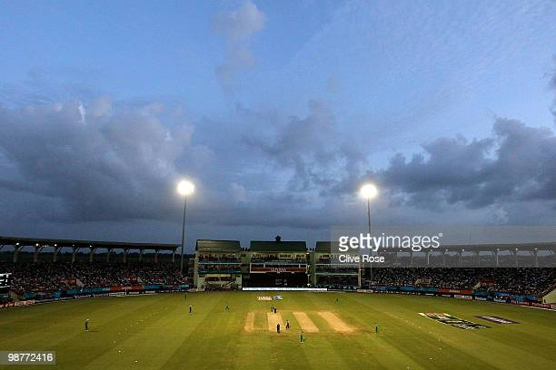 A general view of play during the ICC T20 World Cup Group D match between West Indies and Ireland at the Guyana National Stadium Cricket Ground on...