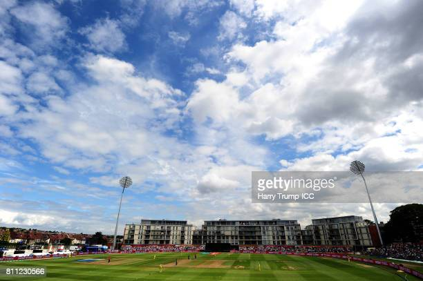 General view of play during the ICC Women's World Cup 2017 match between England and Australia at The Brightside Ground on July 9 2017 in Bristol...