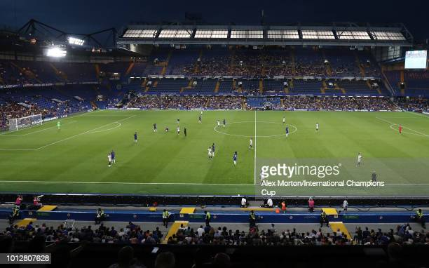 General view of play during the International Champions Cup 2018 match between Chelsea and Olympique Lyonnais at Stamford Bridge on August 7 2018 in...