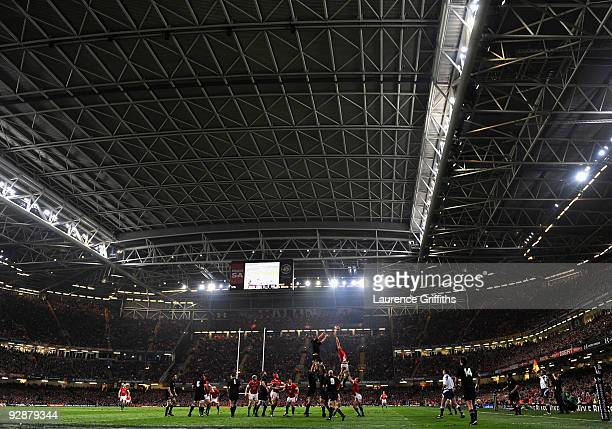 A general view of play during the Invesco Perpetual Series Match between Wales and New Zealand at The Millennium Stadium on November 7 2009 in...