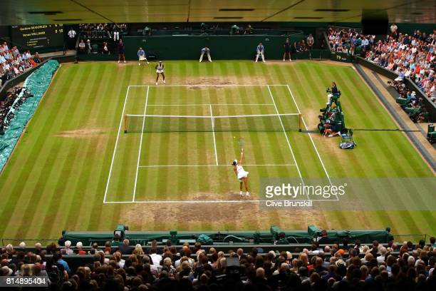 A general view of play during the Ladies Singles final between Venus Williams of The United States and Garbine Muguruza of Spain on day twelve of the...