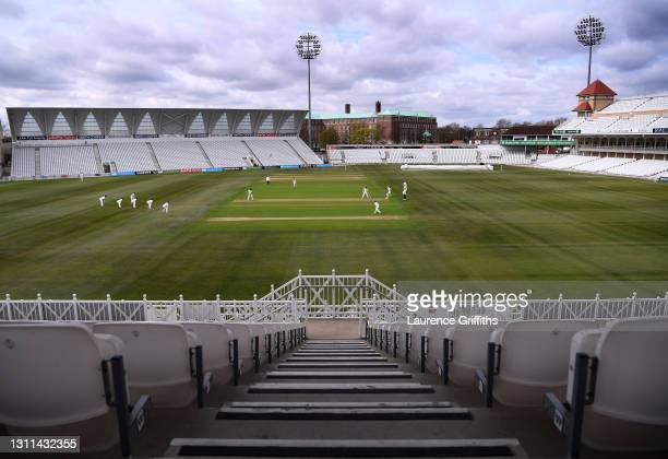 General view of play during the LV Insurance County Championship match between Nottinghamshire and Durham at Trent Bridge on April 08, 2021 in...