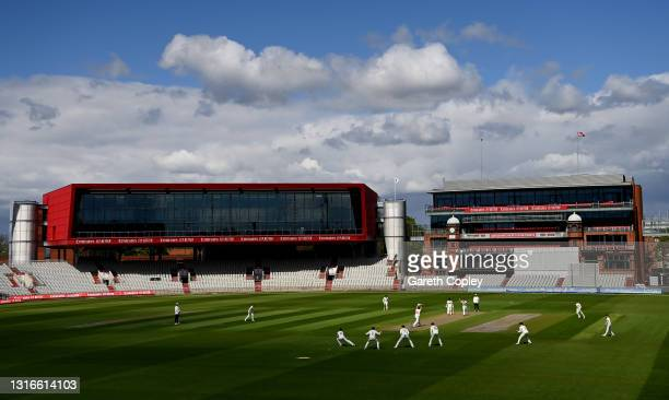 General view of play during the LV= Insurance County Championship match between Lancashire and Glamorgan at Emirates Old Trafford on May 06, 2021 in...
