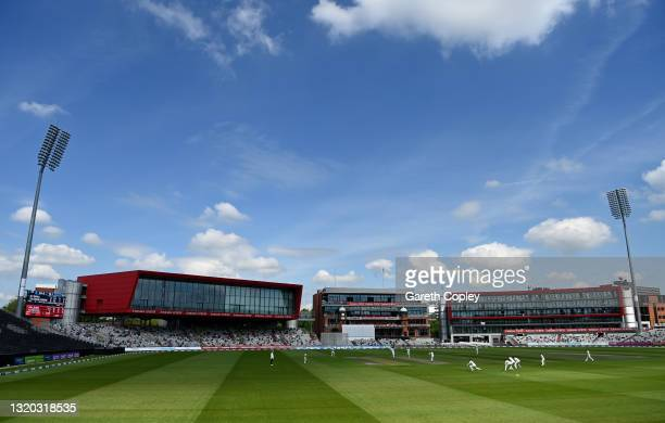 General view of play during the LV= Insurance County Championship match between Lancashire and Yorkshire at Emirates Old Trafford on May 27, 2021 in...