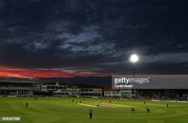 A general view of play during the match between Kent Spitfires and Sussex Sharks at The Spitfire Ground on August 4 2017 in Canterbury England