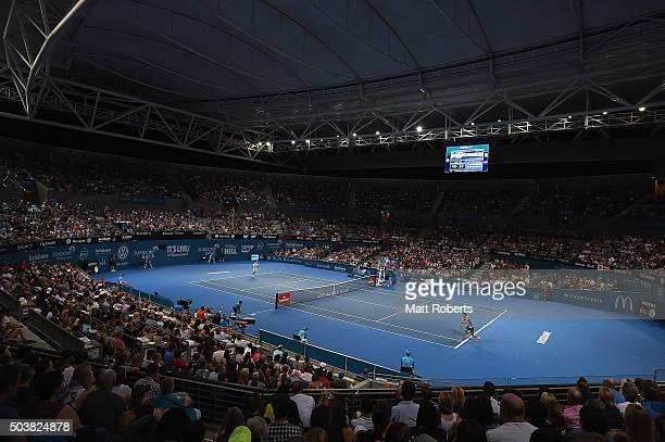 A general view of play during the match between Roger Federer of Switzerland and Tobias Kamke of Germany on day five of the 2016 Brisbane...