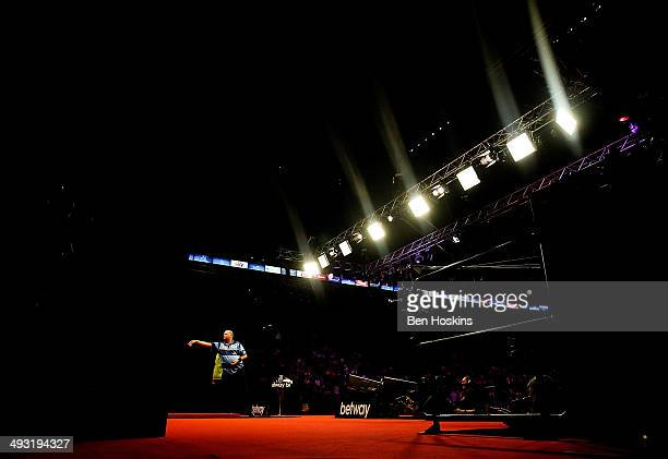A general view of play during the McCoys Premier League Darts PlayOffs Final match between Raymond van Barneveld and Michael van Gerwen at O2 Arena...