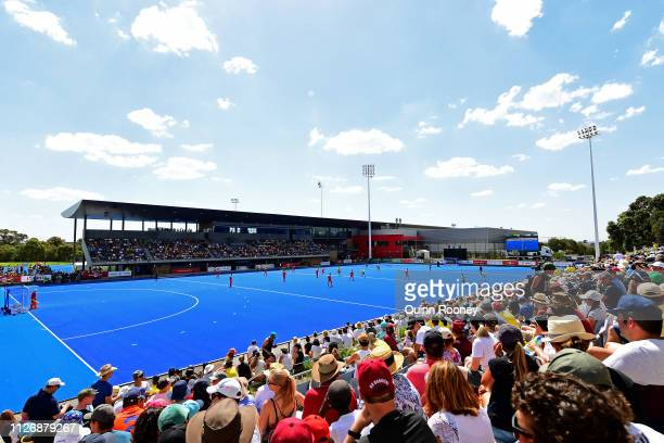 General view of play during the Men's FIH Field Hockey Pro League match between Australia and the Netherlands at State Netball Hockey Centre on...
