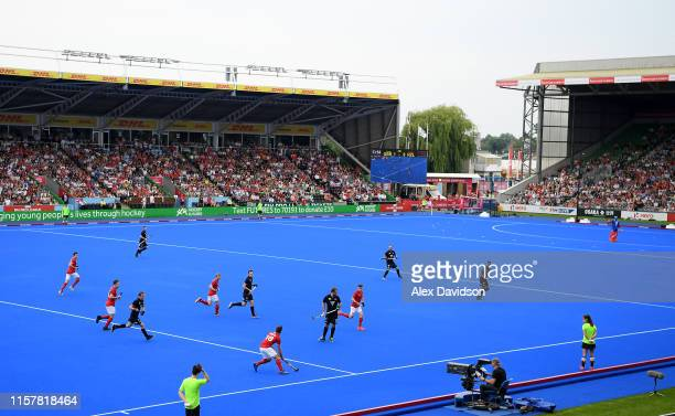 General view of play during the Men's FIH Field Hockey Pro League match between Great Britain and New Zealand at Twickenham Stoop on June 23 2019 in...