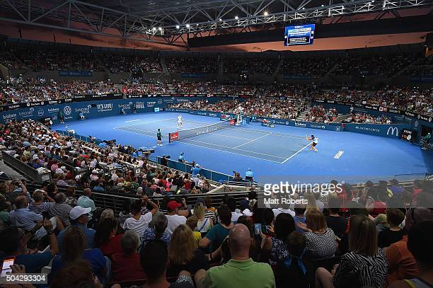 General view of play during the Mens Final between Roger Federer of Switzerland and Milos Raonic of Canada on day eight of the 2016 Brisbane...
