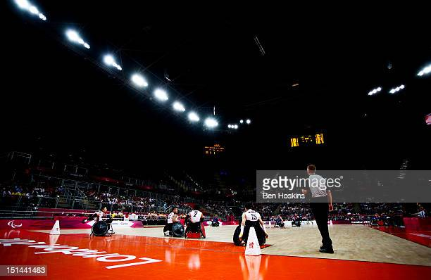 A general view of play during the Men's Pool Phase Group A match between Great Britain and Japan on day 9 of the London 2012 Paralympic Games at the...