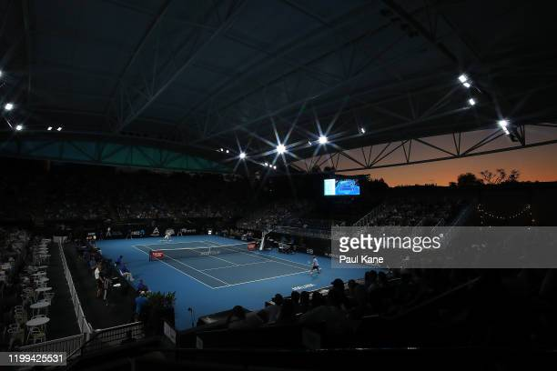 A general view of play during the mens singles match between Alex Bolt of Australia and Stephane Robert of France during day three of the 2020...