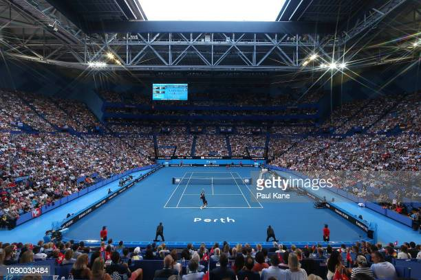 A general view of play during the men's singles match final between Roger Federer of Switzerland and Alexander Zverev of Germany during day eight of...