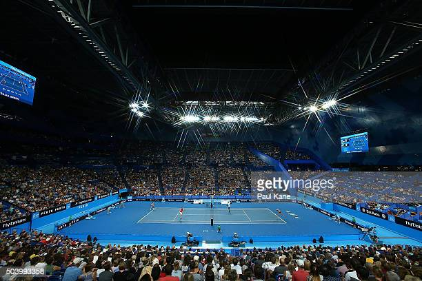 A general view of play during the mixed doubles match between Daria Gavrilova and Nick Kyrgios of Australia Green and Caroline Garcia and Kenny De...