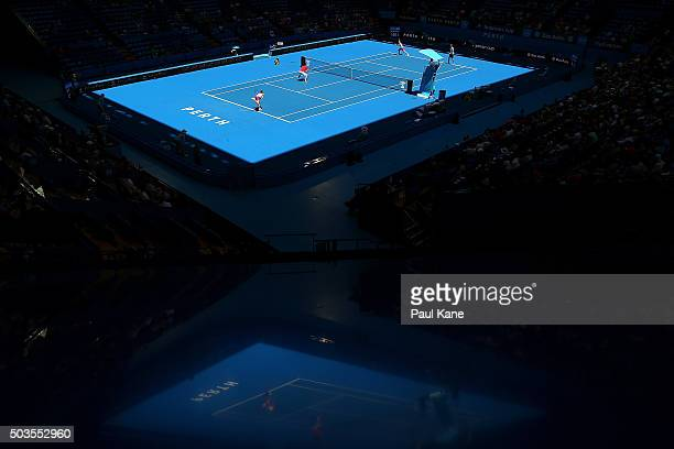 A general view of play during the mixed doubles match between Kenny De Schepper and Caroline Garcia of France and Sabine Lisicki and Alexander Zverev...