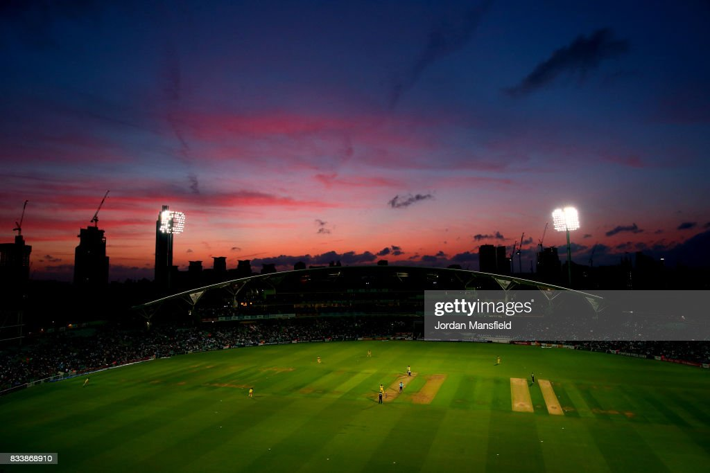 A general view of play during the NatWest T20 Blast match between Surrey and Gloucestershire at The Kia Oval on August 17, 2017 in London, England.