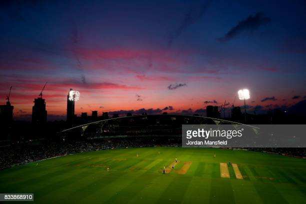 A general view of play during the NatWest T20 Blast match between Surrey and Gloucestershire at The Kia Oval on August 17 2017 in London England