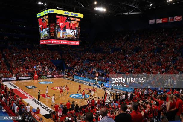 General view of play during the NBL match between the Perth Wildcats and the Cairns Taipans at RAC Arena on March 19 in Perth, Australia.