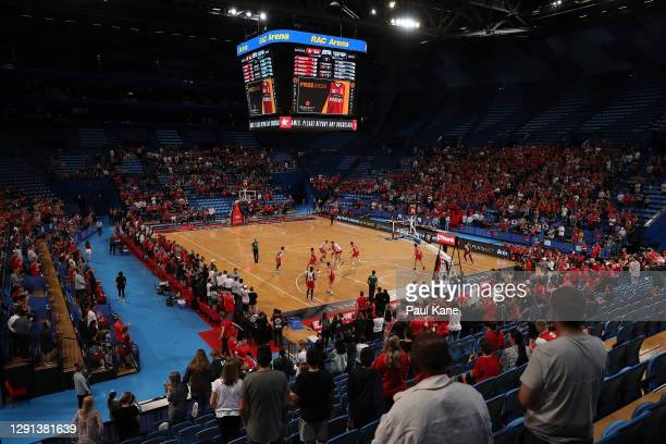 General view of play during the NBL Pre-Season match between the Perth Wildcats and the Illawarra Hawks at RAC Arena on December 15, 2020 in Perth,...
