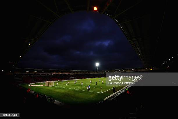 A general view of play during the npower Championship match between Doncaster Rovers and Leicester City at Keepmoat Stadium on December 17 2011 in...