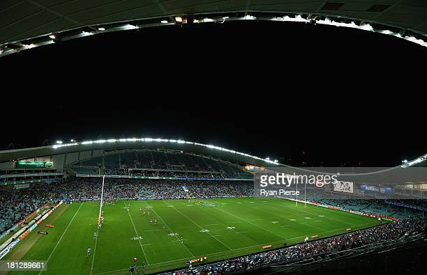 A general view of play during the NRL First Semi Final match between the Manly Sea Eagles and the Cronulla Sharks at Allianz Stadium on September 20...
