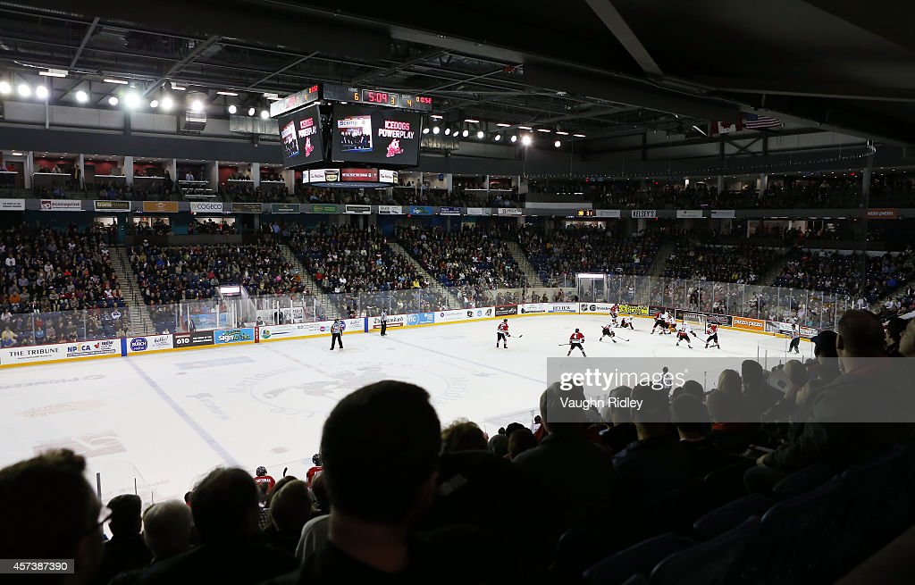 A general view of play during the OHL game between the Belleville Bulls and the Niagara Ice Dogs at the Meridian Centre on October 16, 2014 in St Catharines, Ontario, Canada.