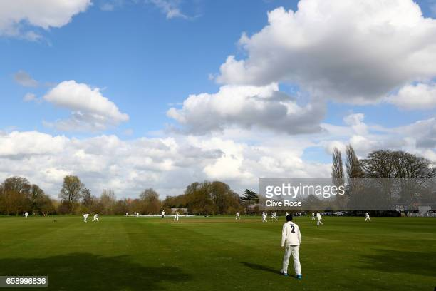 A general view of play during the pre season match between Oxford MCCU and Surrey in the Parks on March 28 2017 in Oxford England