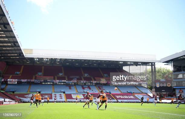 General view of play during the Premier League match between Aston Villa and Wolverhampton Wanderers at Villa Park on June 27, 2020 in Birmingham,...