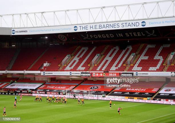General view of play during the Premier League match between Sheffield United and Wolverhampton Wanderers at Bramall Lane on July 08, 2020 in...