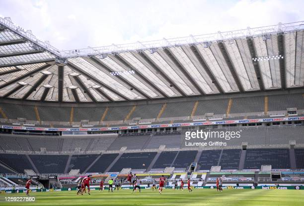 General view of play during the Premier League match between Newcastle United and Liverpool FC at St. James Park on July 26, 2020 in Newcastle upon...