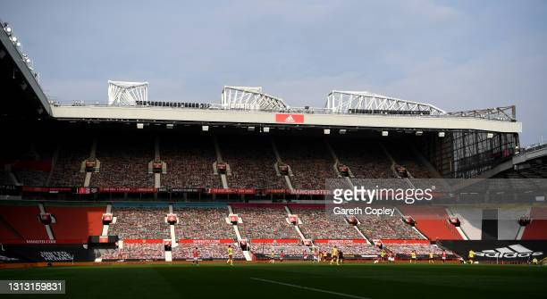 General view of play during the Premier League match between Manchester United and Burnley at Old Trafford on April 18, 2021 in Manchester, England....