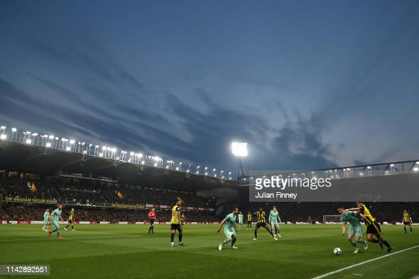 A general view of play during the Premier League match between Watford FC and Arsenal FC at Vicarage Road on April 15 2019 in Watford United Kingdom