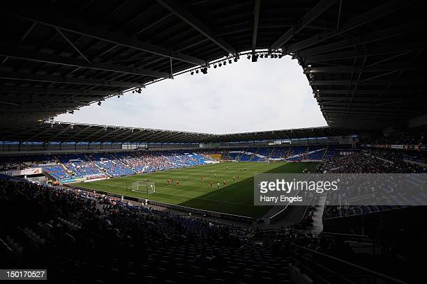 A general view of play during the preseason match between Cardiff City and Newcastle United at Cardiff City Stadium on August 11 2012 in Cardiff Wales
