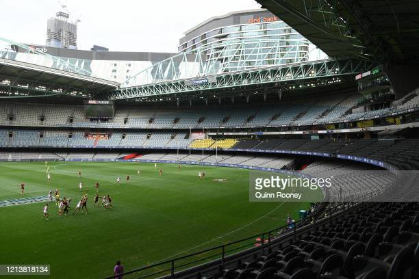 General view of play during the round 1 AFL match between the Essendon Bombers and the Fremantle Dockers at Marvel Stadium on March 21, 2020 in...
