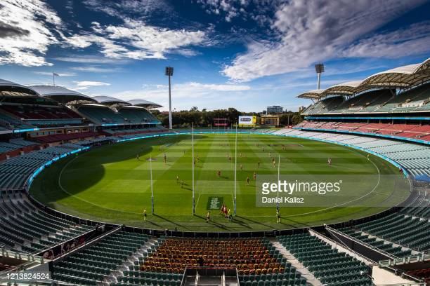 General view of play during the round 1 AFL match between the Adelaide Crows and the Sydney Swans at Adelaide Oval on March 21, 2020 in Adelaide,...