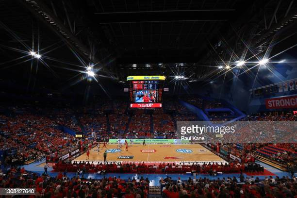 General view of play during the round 10 NBL match between the Perth Wildcats and the Adelaide 36ers at RAC Arena on March 22 in Perth, Australia.