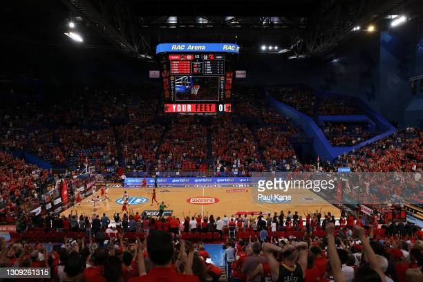 General view of play during the round 11 NBL match between the Perth Wildcats and the Illawarra Hawks at RAC Arena on March 26, 2021 in Perth,...