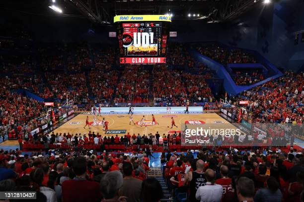 General view of play during the round 14 NBL match between the Perth Wildcats and the Illawarra Hawks at RAC Arena, on April 16 in Perth, Australia.