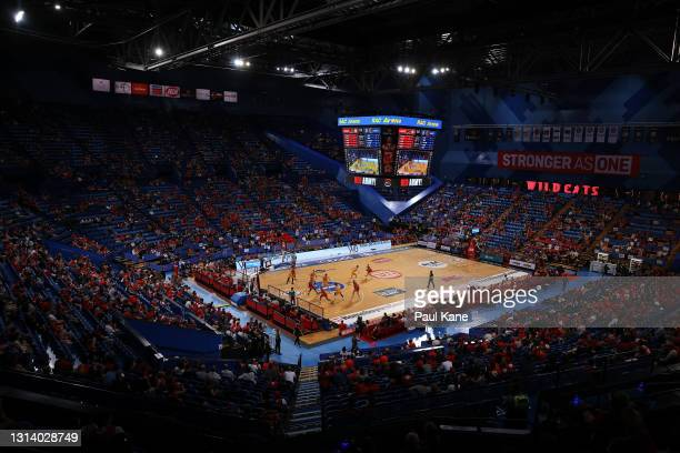 General view of play during the round 15 NBL match between the Perth Wildcats and the Brisbane Bullets at RAC Arena, on April 23 in Perth, Australia.