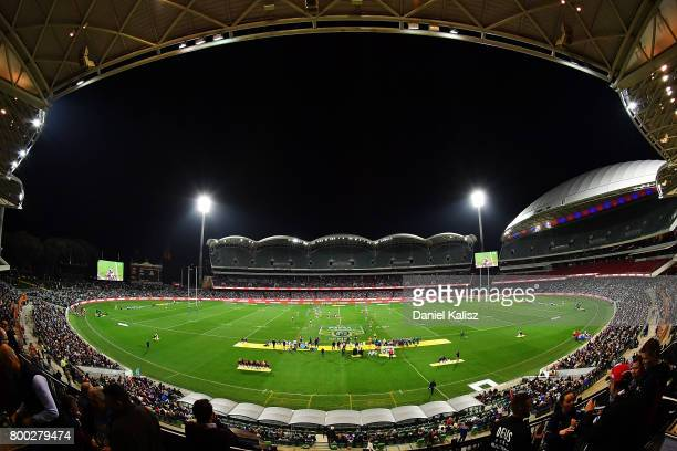A general view of play during the round 16 NRL match between the Sydney Roosters and the Melbourne Storm at Adelaide Oval on June 24 2017 in Adelaide...