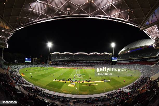 A general view of play during the round 16 NRL match between the Sydney Roosters and the Melbourne Storm at Adelaide Oval on June 29 2018 in Adelaide...