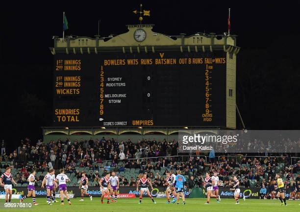 General view of play during the round 16 NRL match between the Sydney Roosters and the Melbourne Storm at Adelaide Oval on June 29, 2018 in Adelaide,...