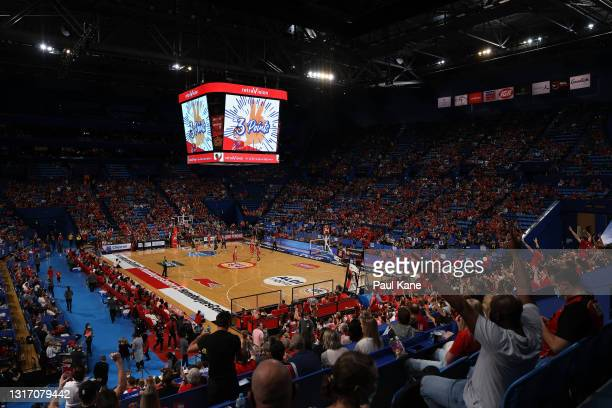 General view of play during the round 17 NBL match between Perth Wildcats and New Zealand Breakers at RAC Arena, on May 09 in Perth, Australia.