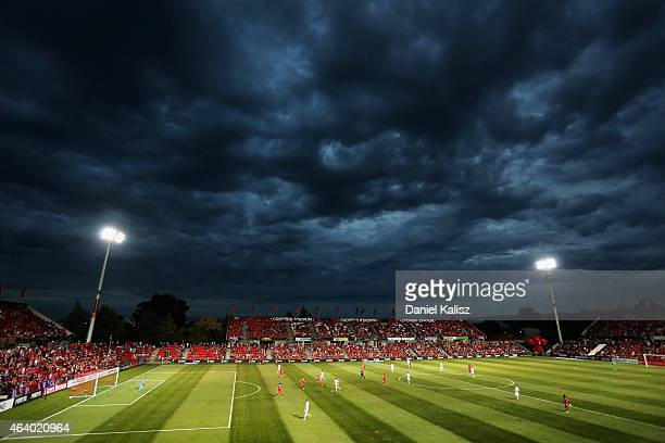 A general view of play during the round 18 ALeague match between Adelaide United and Western Sydney Wanderers at Coopers Stadium on February 21 2015...