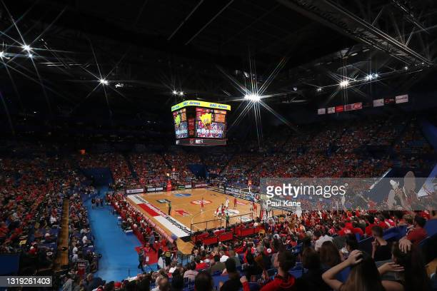 General view of play during the round 19 NBL match between Perth Wildcats and Cairns Taipans at RAC Arena, on May 21 in Perth, Australia.