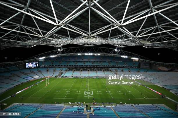 General view of play during the round 2 NRL match between the Canterbury Bulldogs and the North Queensland Cowboys at ANZ Stadium on March 19, 2020...