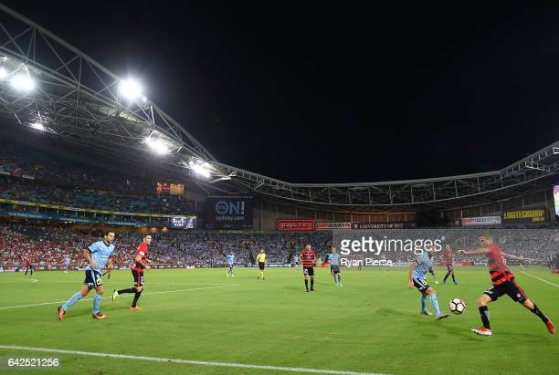 A general view of play during the round 20 ALeague match between the Western Sydney Wanderers and Sydney FC at ANZ Stadium on February 18 2017 in...