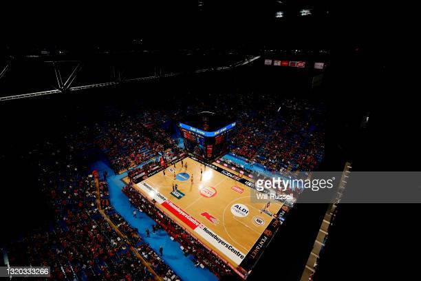 General view of play during the round 20 NBL match between the Perth Wildcats and the Sydney Kings at RAC Arena, on May 27 in Perth, Australia.